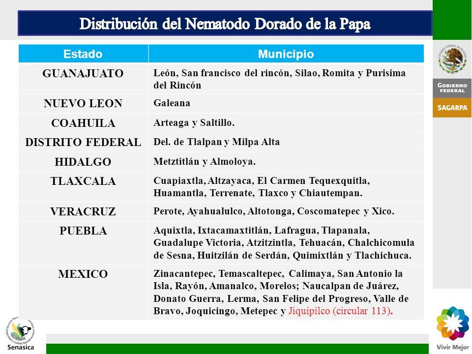 EstadoMunicipio GUANAJUATO León, San francisco del rincón, Silao, Romita y Purisima del Rincón NUEVO LEON Galeana COAHUILA Arteaga y Saltillo. DISTRIT