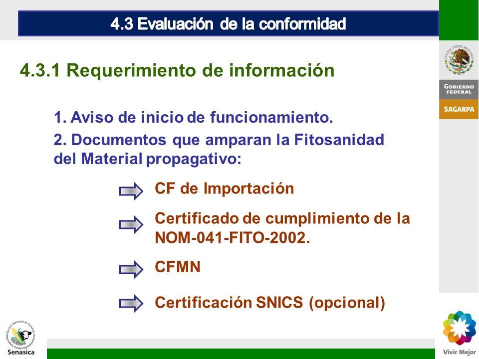 1. Aviso de inicio de funcionamiento. 4.3.1 Requerimiento de información 2. Documentos que amparan la Fitosanidad del Material propagativo: CF de Impo