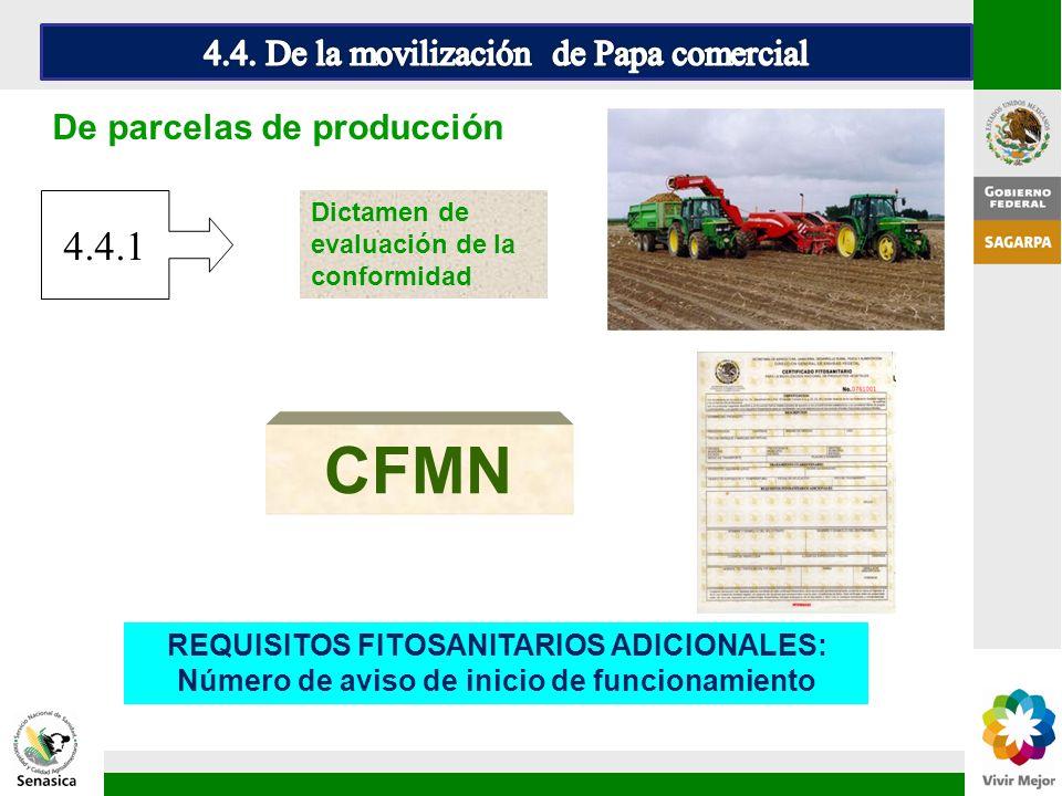 De parcelas de producción CFMN Dictamen de evaluación de la conformidad REQUISITOS FITOSANITARIOS ADICIONALES: Número de aviso de inicio de funcionami