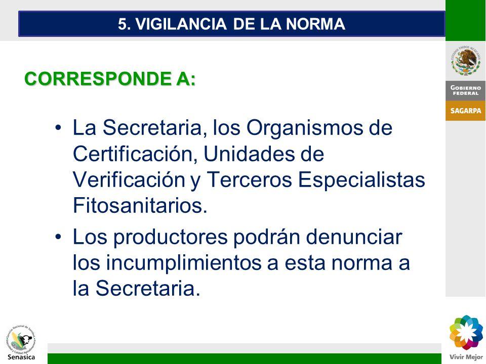 La Secretaria, los Organismos de Certificación, Unidades de Verificación y Terceros Especialistas Fitosanitarios. Los productores podrán denunciar los