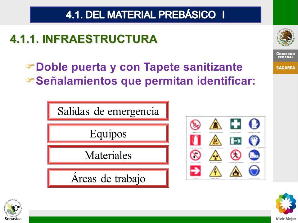4.1.1. INFRAESTRUCTURA FDoble puerta y con Tapete sanitizante FSeñalamientos que permitan identificar: Áreas de trabajo Salidas de emergencia Equipos