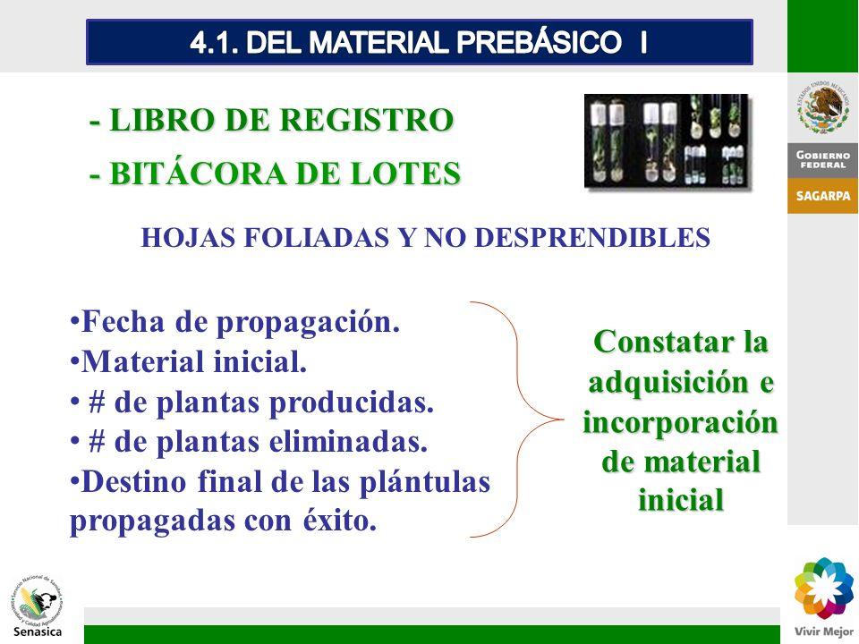 - BITÁCORA DE LOTES - LIBRO DE REGISTRO HOJAS FOLIADAS Y NO DESPRENDIBLES Fecha de propagación. Material inicial. # de plantas producidas. # de planta