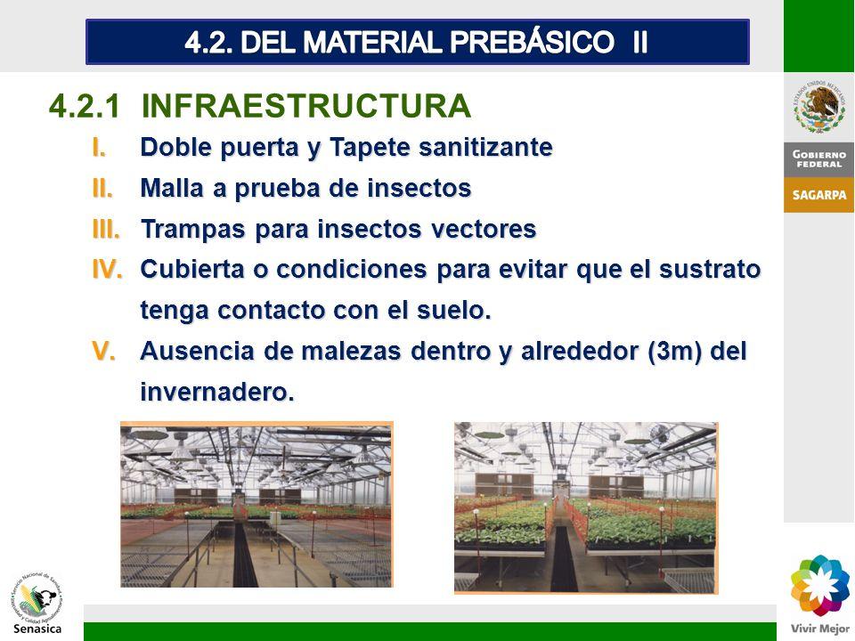 4.2.1 INFRAESTRUCTURA I.Doble puerta y Tapete sanitizante II.Malla a prueba de insectos III.Trampas para insectos vectores IV.Cubierta o condiciones p