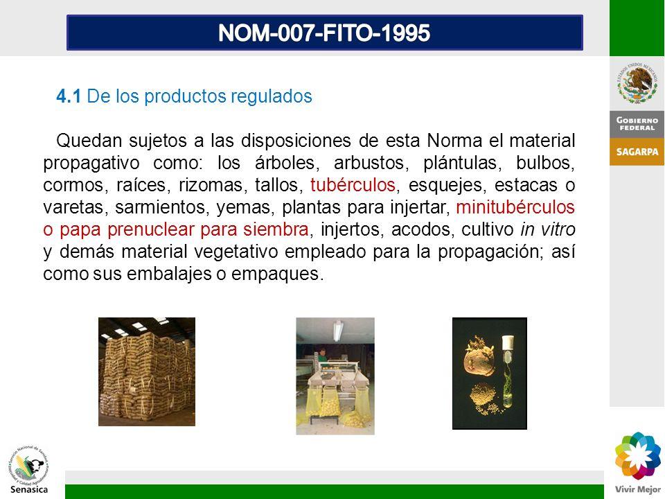 4.1 De los productos regulados Quedan sujetos a las disposiciones de esta Norma el material propagativo como: los árboles, arbustos, plántulas, bulbos