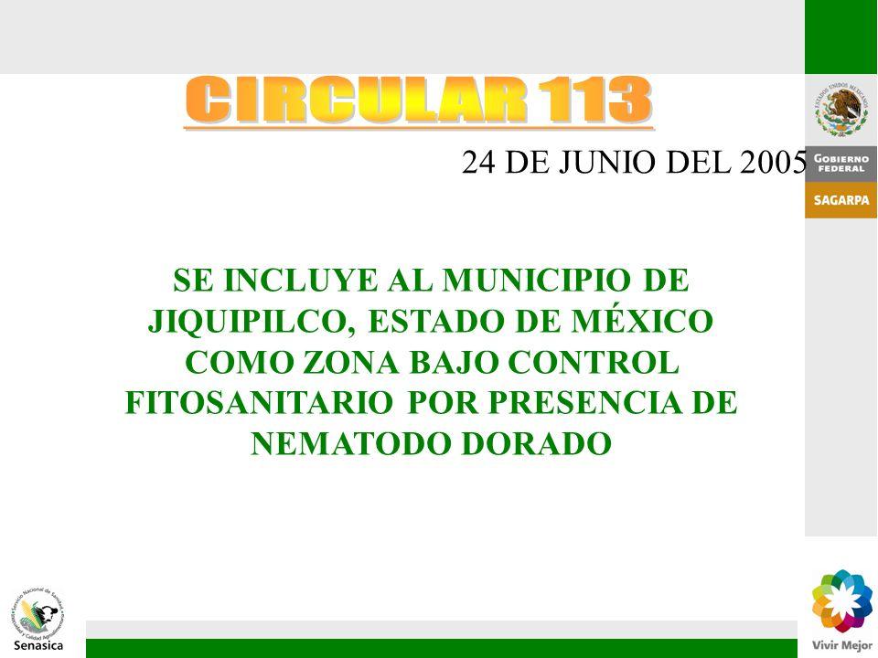 24 DE JUNIO DEL 2005 SE INCLUYE AL MUNICIPIO DE JIQUIPILCO, ESTADO DE MÉXICO COMO ZONA BAJO CONTROL FITOSANITARIO POR PRESENCIA DE NEMATODO DORADO