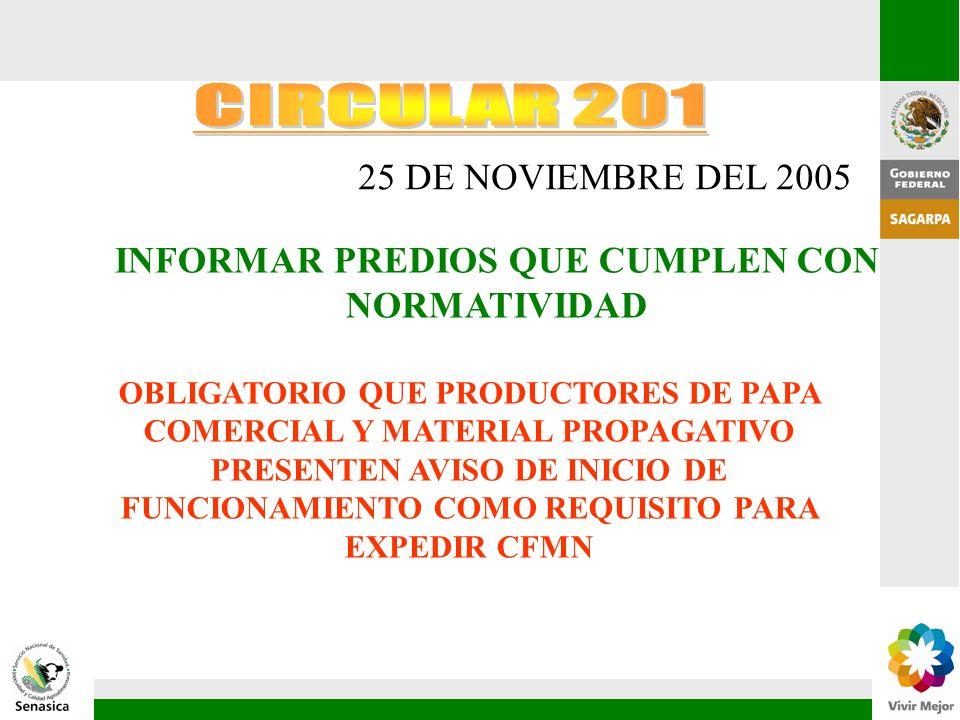 25 DE NOVIEMBRE DEL 2005 INFORMAR PREDIOS QUE CUMPLEN CON NORMATIVIDAD OBLIGATORIO QUE PRODUCTORES DE PAPA COMERCIAL Y MATERIAL PROPAGATIVO PRESENTEN