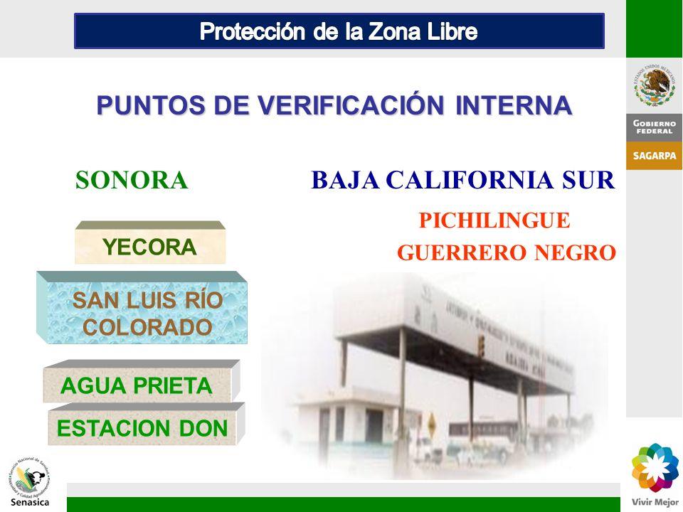 PUNTOS DE VERIFICACIÓN INTERNA YECORA ESTACION DON SAN LUIS RÍO COLORADO AGUA PRIETA SONORABAJA CALIFORNIA SUR PICHILINGUE GUERRERO NEGRO