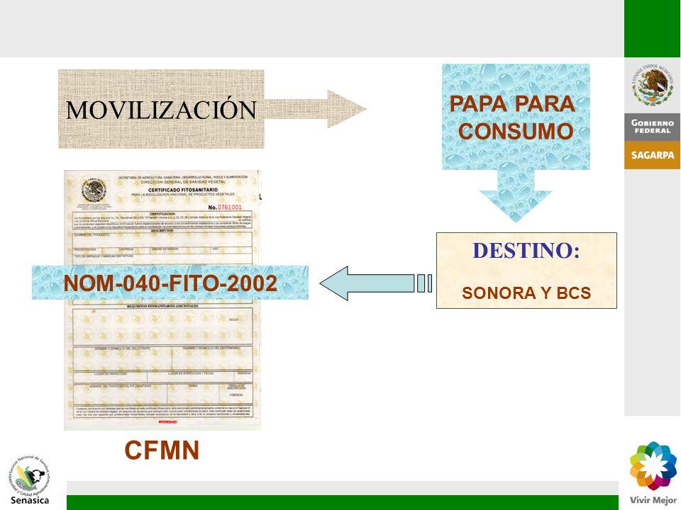NOM-040-FITO-2002 MOVILIZACIÓN PAPA PARA CONSUMO DESTINO: SONORA Y BCS CFMN