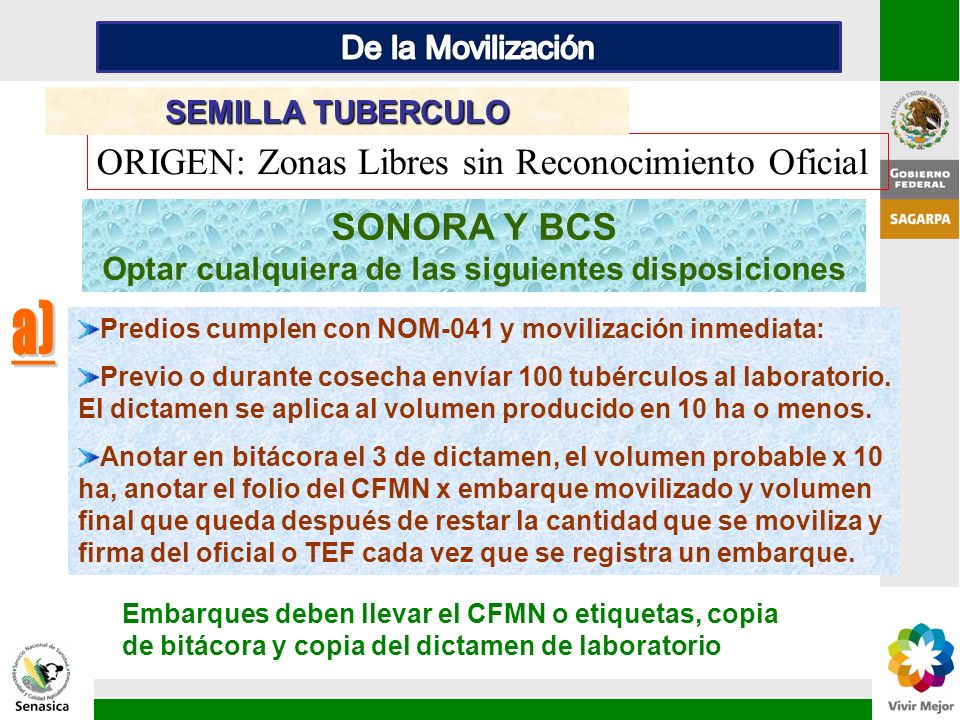 SONORA Y BCS Optar cualquiera de las siguientes disposiciones ORIGEN: Zonas Libres sin Reconocimiento Oficial SEMILLA TUBERCULO Predios cumplen con NO