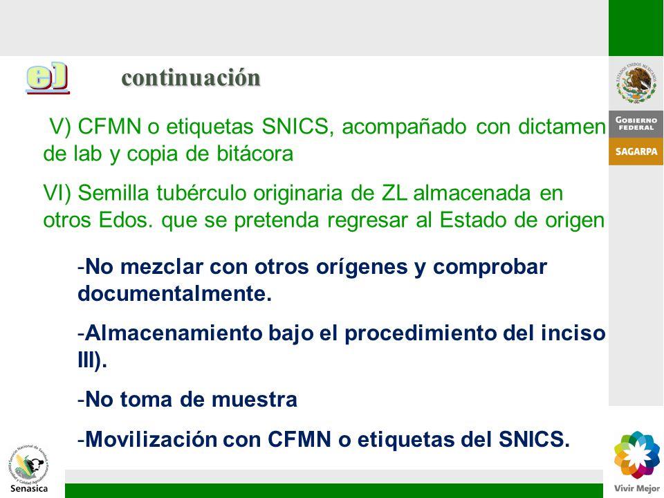 continuación V) CFMN o etiquetas SNICS, acompañado con dictamen de lab y copia de bitácora VI) Semilla tubérculo originaria de ZL almacenada en otros