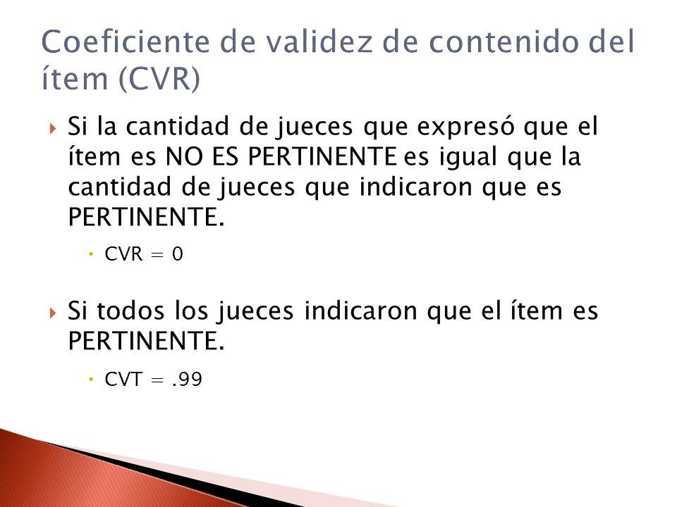 Si la cantidad de jueces que expresó que el ítem es NO ES PERTINENTE es igual que la cantidad de jueces que indicaron que es PERTINENTE. CVR = 0 Si to