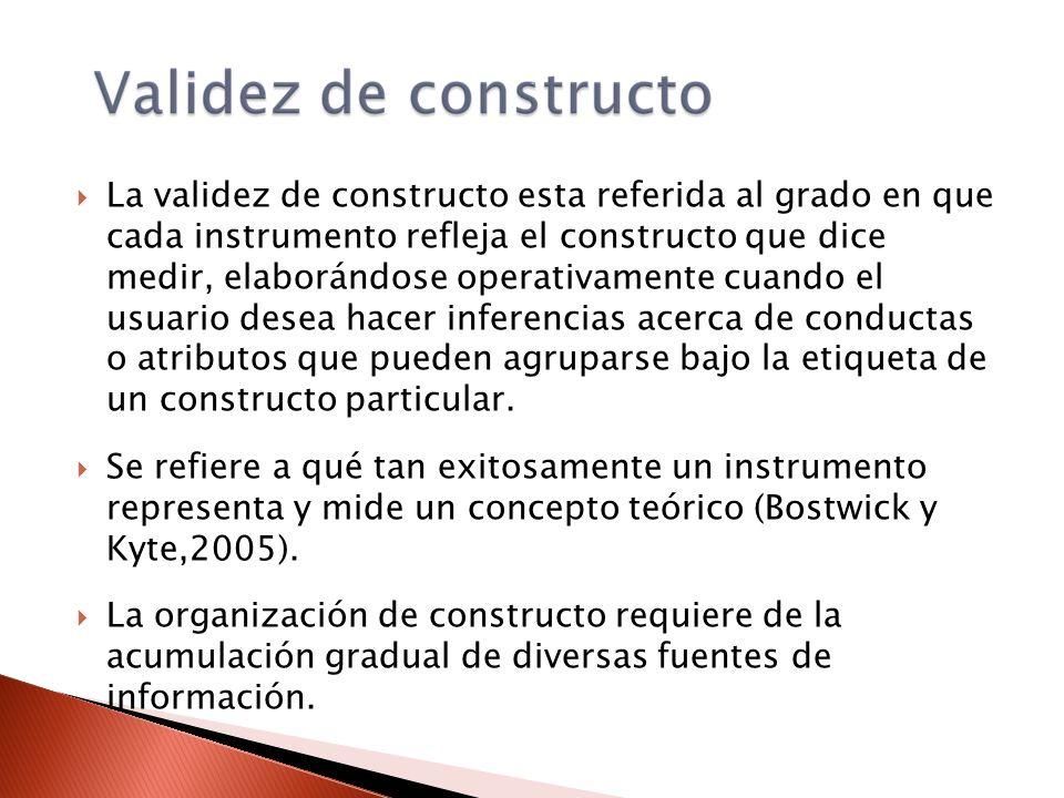 La validez de constructo esta referida al grado en que cada instrumento refleja el constructo que dice medir, elaborándose operativamente cuando el us