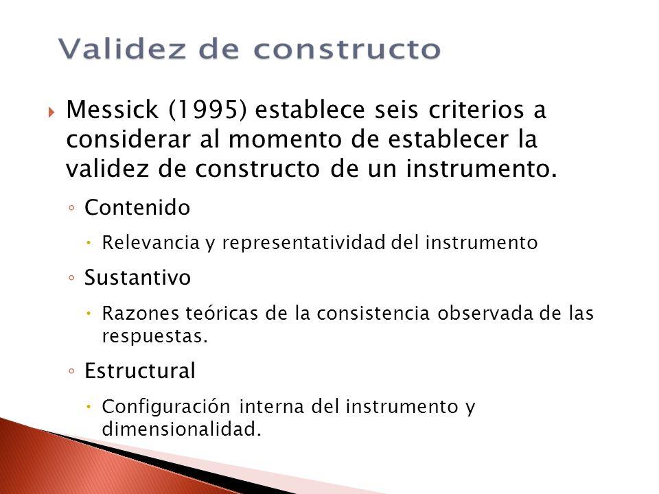 Messick (1995) establece seis criterios a considerar al momento de establecer la validez de constructo de un instrumento. Contenido Relevancia y repre