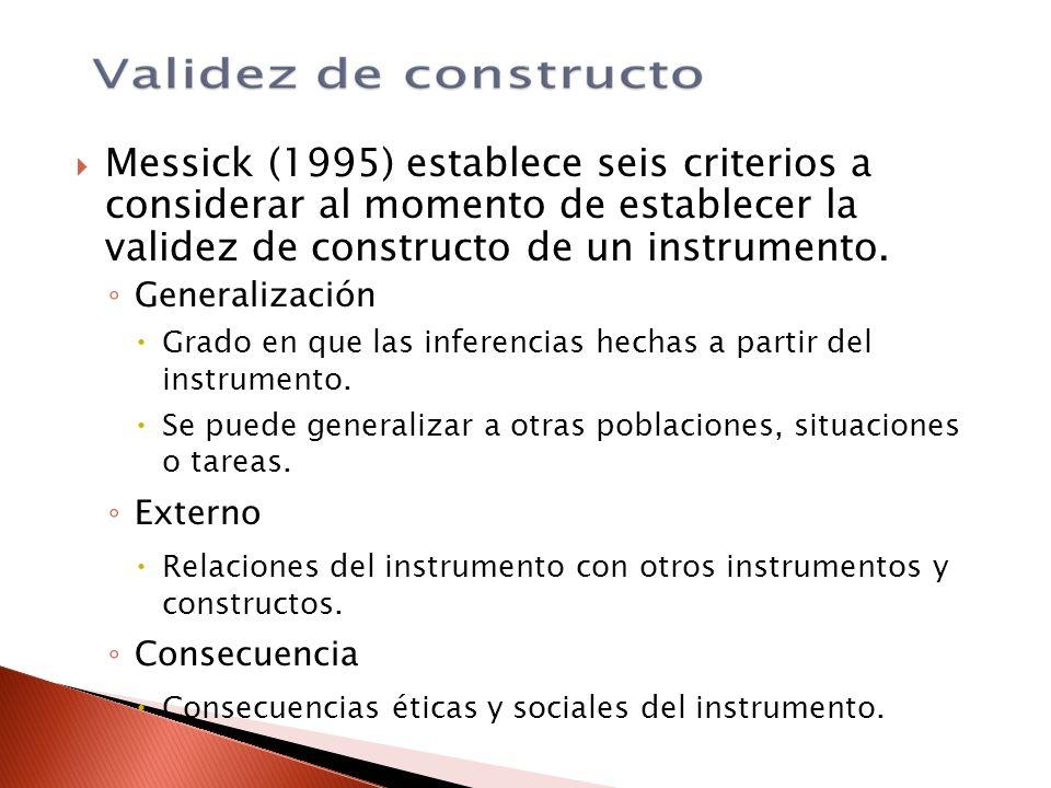Messick (1995) establece seis criterios a considerar al momento de establecer la validez de constructo de un instrumento. Generalización Grado en que