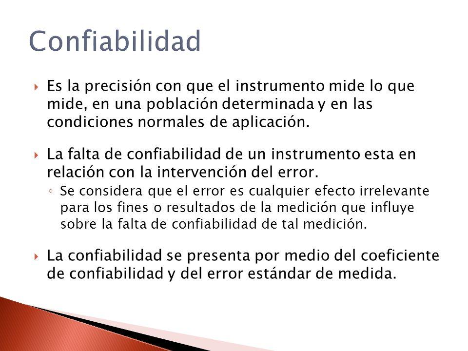 Es la precisión con que el instrumento mide lo que mide, en una población determinada y en las condiciones normales de aplicación. La falta de confiab