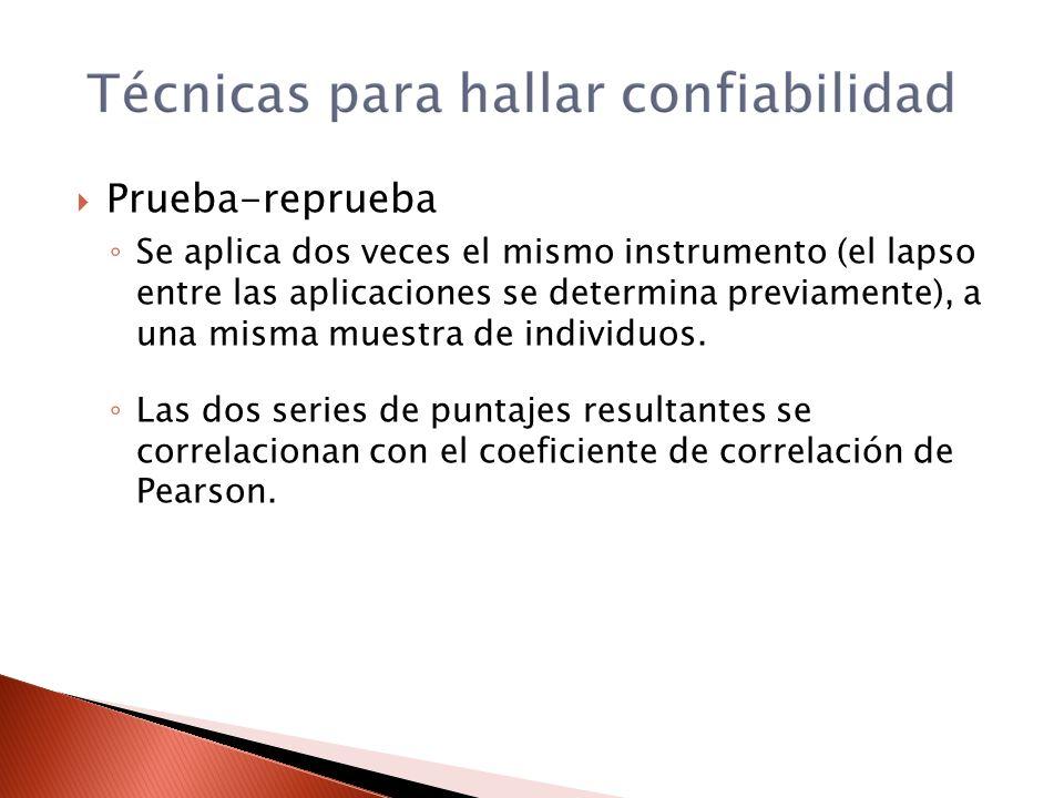 Prueba-reprueba Se aplica dos veces el mismo instrumento (el lapso entre las aplicaciones se determina previamente), a una misma muestra de individuos