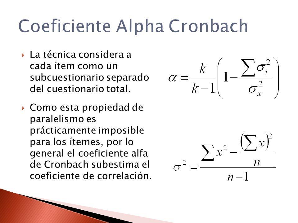 Coeficiente Alpha Cronbach La técnica considera a cada ítem como un subcuestionario separado del cuestionario total. Como esta propiedad de paralelism