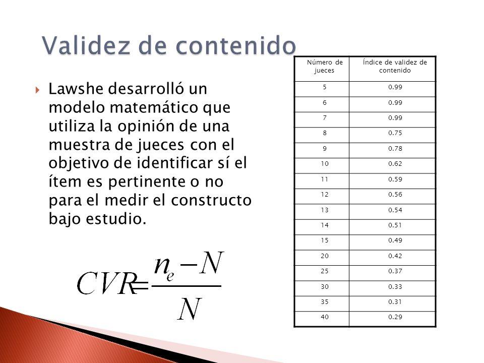 Validez de contenido Lawshe desarrolló un modelo matemático que utiliza la opinión de una muestra de jueces con el objetivo de identificar sí el ítem