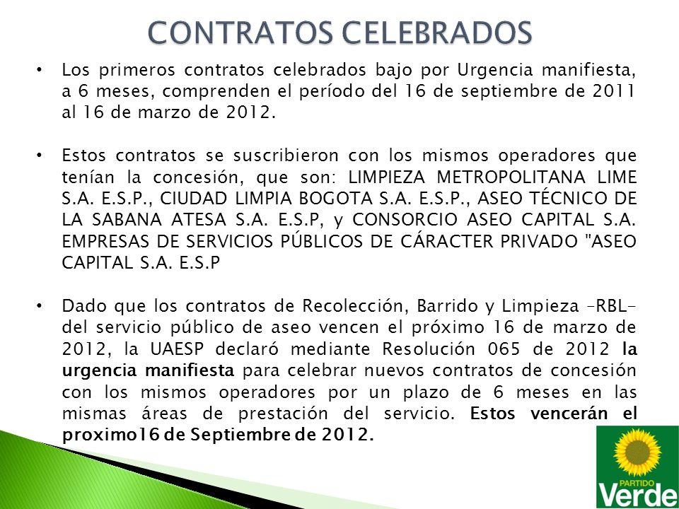 Los primeros contratos celebrados bajo por Urgencia manifiesta, a 6 meses, comprenden el período del 16 de septiembre de 2011 al 16 de marzo de 2012.