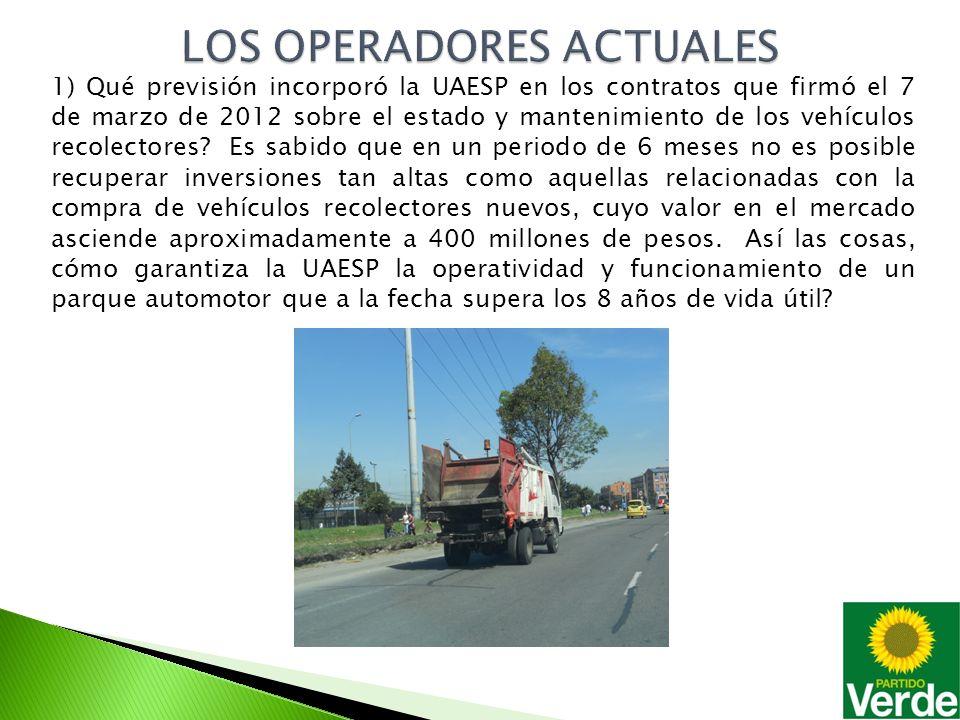 1) Qué previsión incorporó la UAESP en los contratos que firmó el 7 de marzo de 2012 sobre el estado y mantenimiento de los vehículos recolectores.