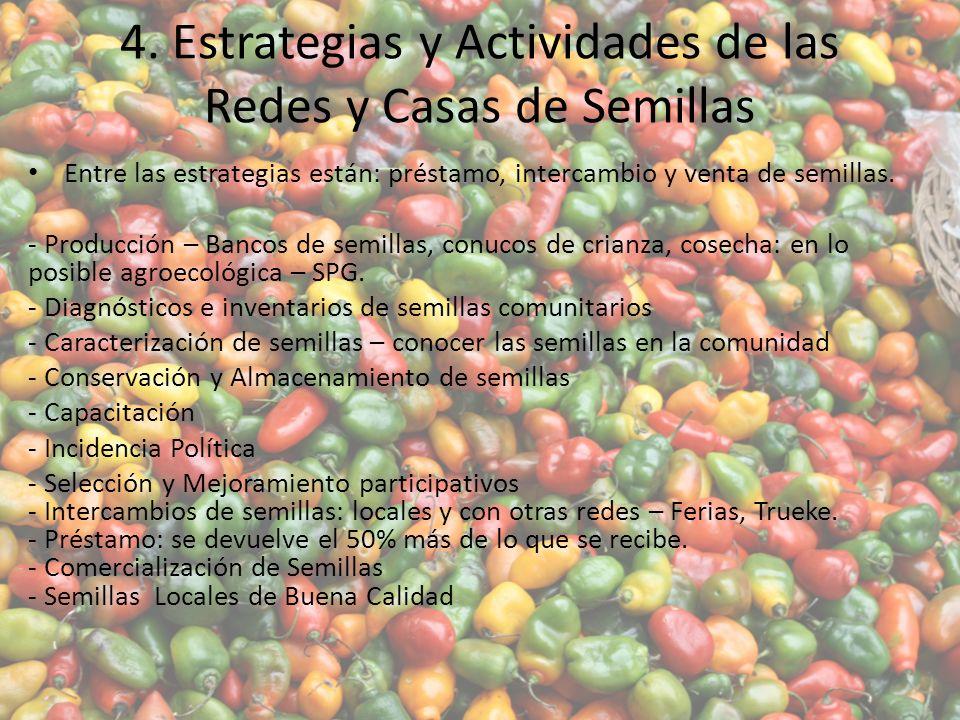 4. Estrategias y Actividades de las Redes y Casas de Semillas Entre las estrategias están: préstamo, intercambio y venta de semillas. - Producción – B