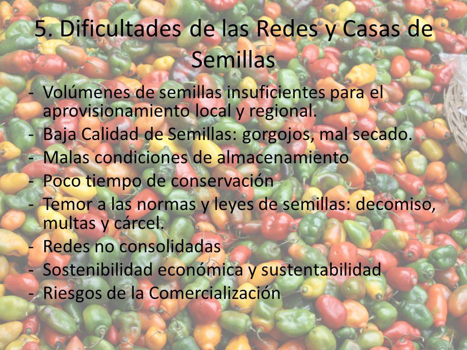 5. Dificultades de las Redes y Casas de Semillas -Volúmenes de semillas insuficientes para el aprovisionamiento local y regional. -Baja Calidad de Sem