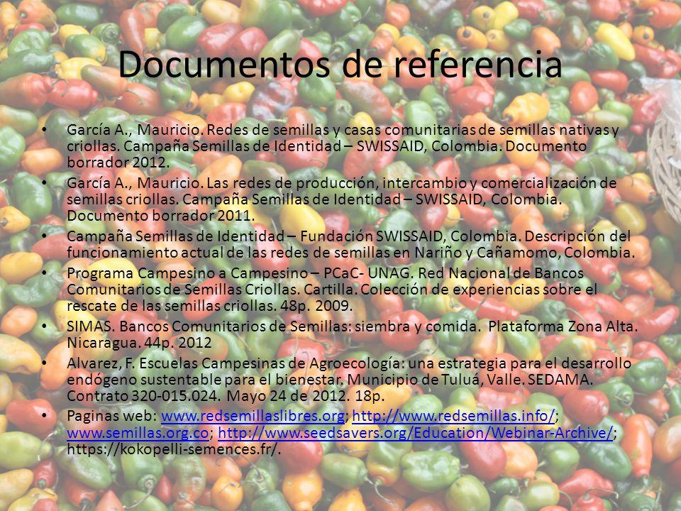 Documentos de referencia García A., Mauricio.