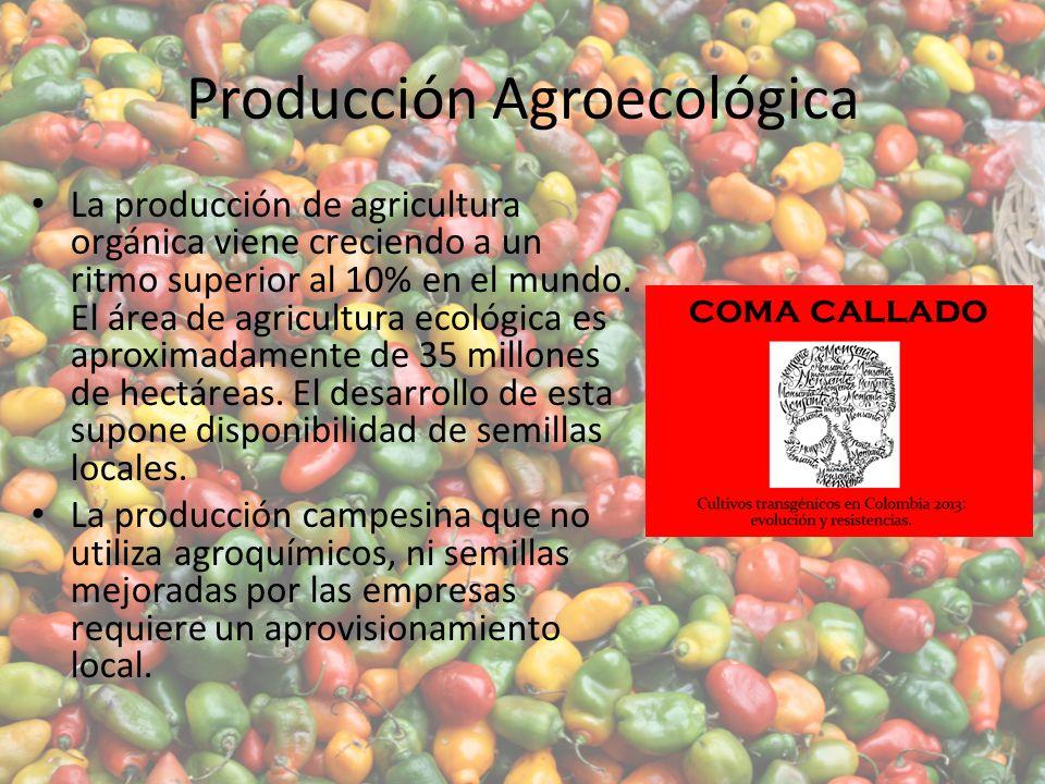Producción Agroecológica La producción de agricultura orgánica viene creciendo a un ritmo superior al 10% en el mundo.