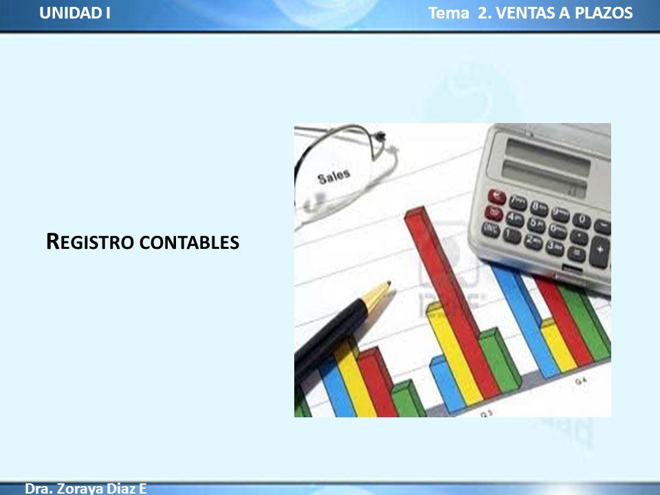 UNIDAD I Tema 2. VENTAS A PLAZOS Dra. Zoraya Diaz E R EGISTRO CONTABLES