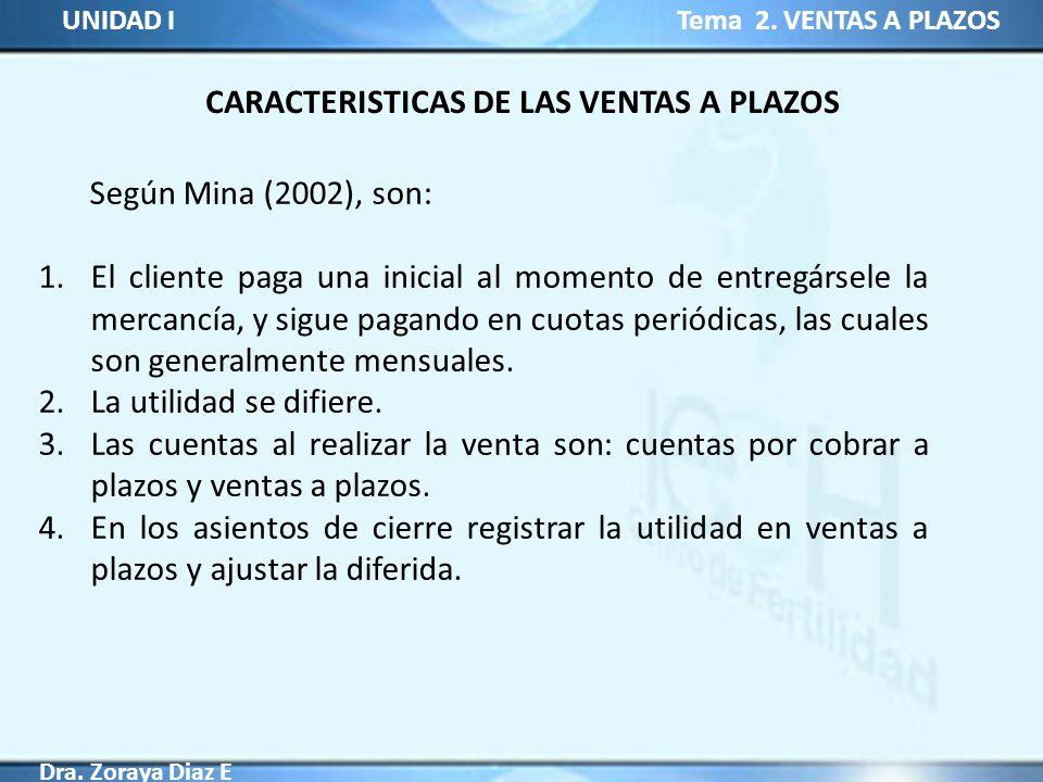 UNIDAD I Tema 2. VENTAS A PLAZOS Dra. Zoraya Diaz E CARACTERISTICAS DE LAS VENTAS A PLAZOS Según Mina (2002), son: 1.El cliente paga una inicial al mo