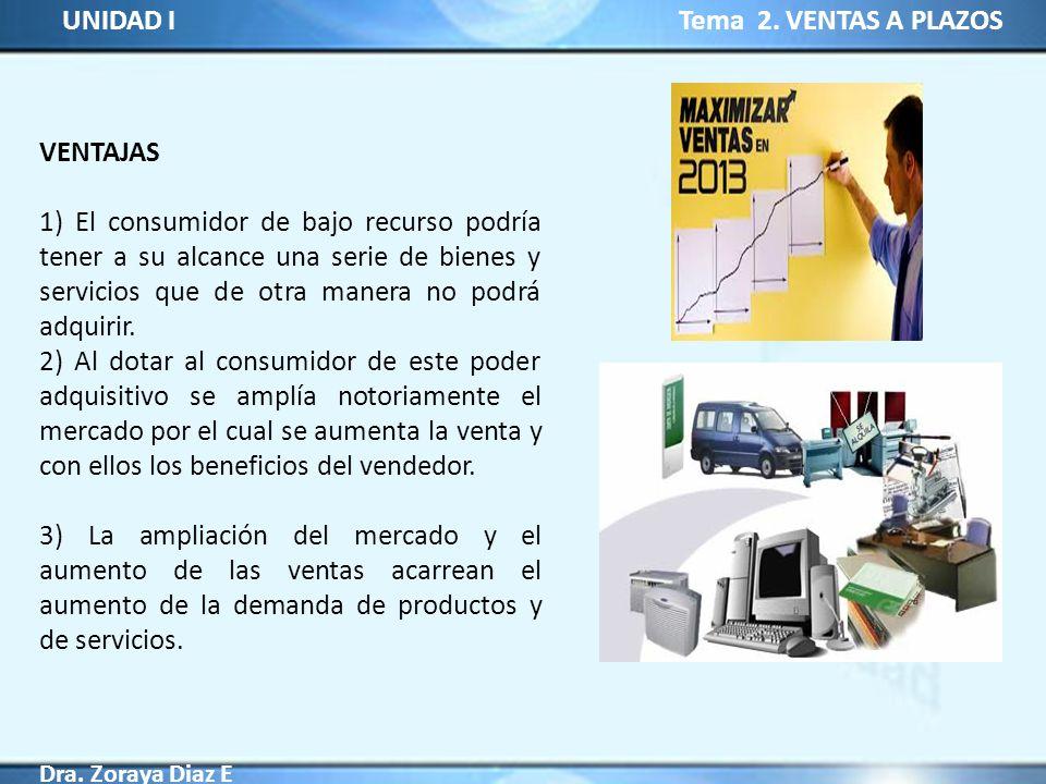 UNIDAD I Tema 2. VENTAS A PLAZOS Dra. Zoraya Diaz E VENTAJAS 1) El consumidor de bajo recurso podría tener a su alcance una serie de bienes y servicio