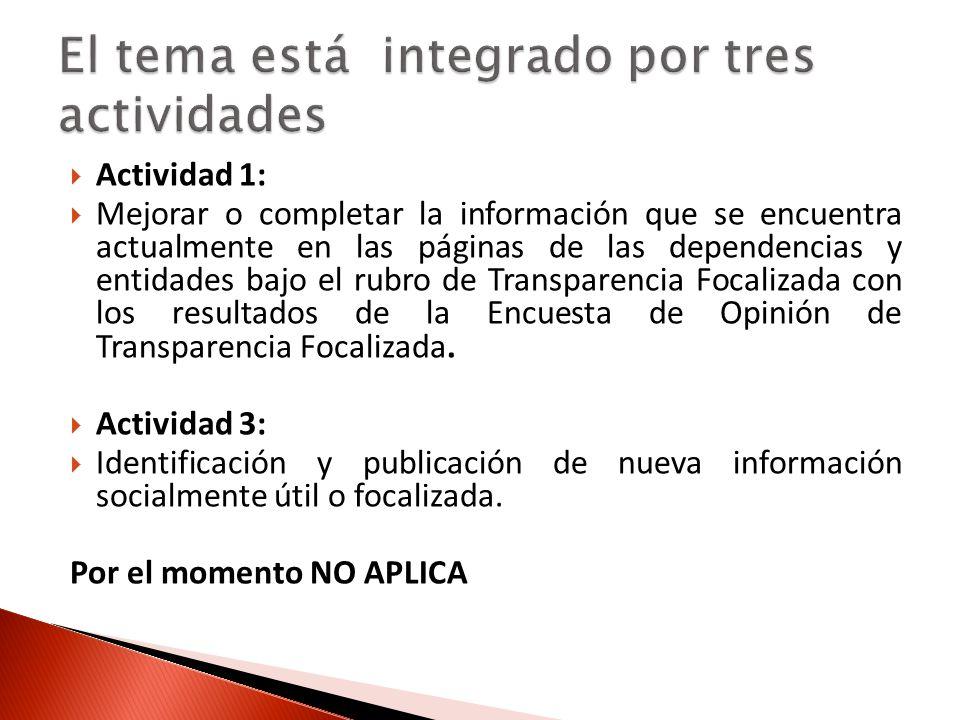 Actividad 2: Publicación de información socialmente útil o focalizada que se solicita en el Manual Administrativo de Aplicación General en Materia de Transparencia.