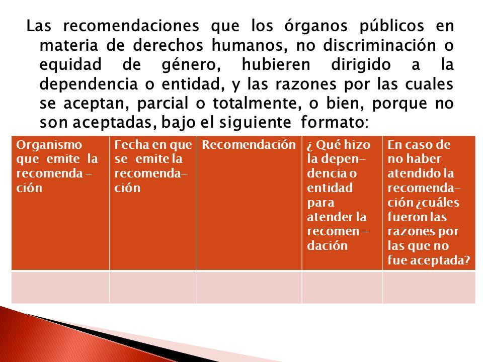 Las recomendaciones que los órganos públicos en materia de derechos humanos, no discriminación o equidad de género, hubieren dirigido a la dependencia o entidad, y las razones por las cuales se aceptan, parcial o totalmente, o bien, porque no son aceptadas, bajo el siguiente formato: Organismo que emite la recomenda - ción Fecha en que se emite la recomenda- ción Recomendación¿ Qué hizo la depen- dencia o entidad para atender la recomen - dación En caso de no haber atendido la recomenda- ción ¿cuáles fueron las razones por las que no fue aceptada