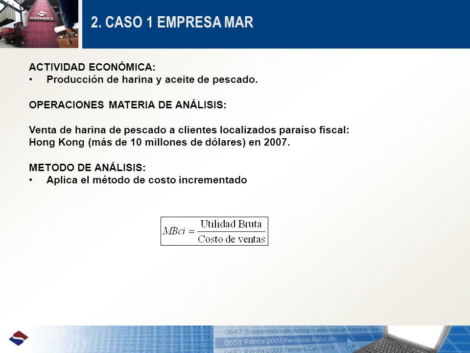 2.CASO 1 EMPRESA MAR ACTIVIDAD ECONÓMICA: Producción de harina y aceite de pescado.