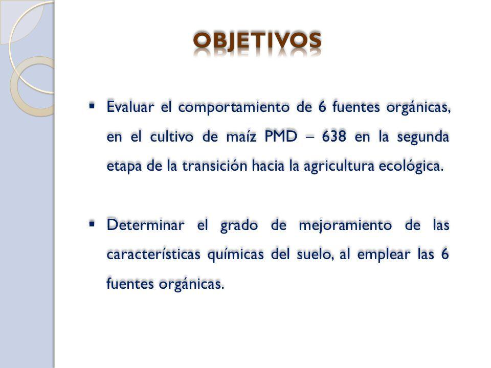 Evaluar el comportamiento de 6 fuentes orgánicas, en el cultivo de maíz PMD – 638 en la segunda etapa de la transición hacia la agricultura ecológica.