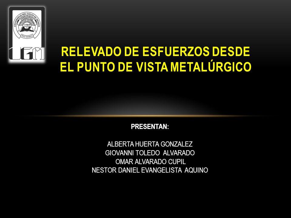 RELEVADO DE ESFUERZOS DESDE EL PUNTO DE VISTA METALÚRGICO PRESENTAN: ALBERTA HUERTA GONZALEZ GIOVANNI TOLEDO ALVARADO OMAR ALVARADO CUPIL NESTOR DANIE