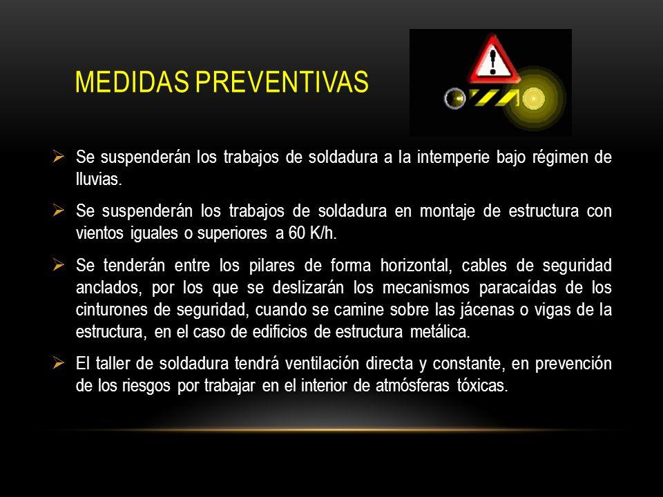 MEDIDAS PREVENTIVAS Se suspenderán los trabajos de soldadura a la intemperie bajo régimen de lluvias. Se suspenderán los trabajos de soldadura en mont