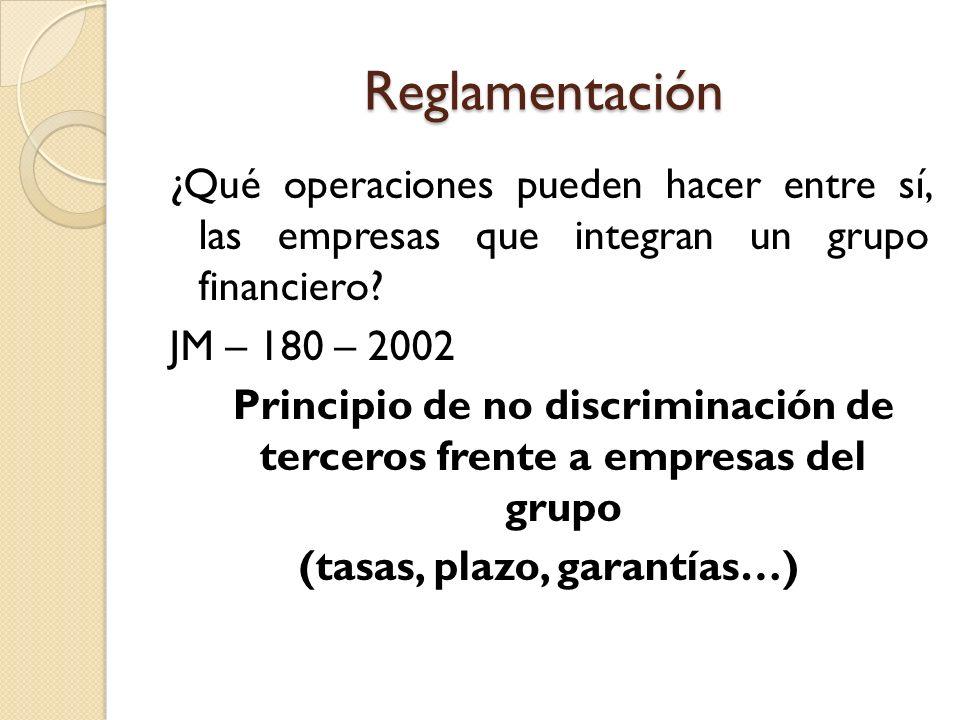 Reglamentación ¿Qué operaciones pueden hacer entre sí, las empresas que integran un grupo financiero? JM – 180 – 2002 Principio de no discriminación d