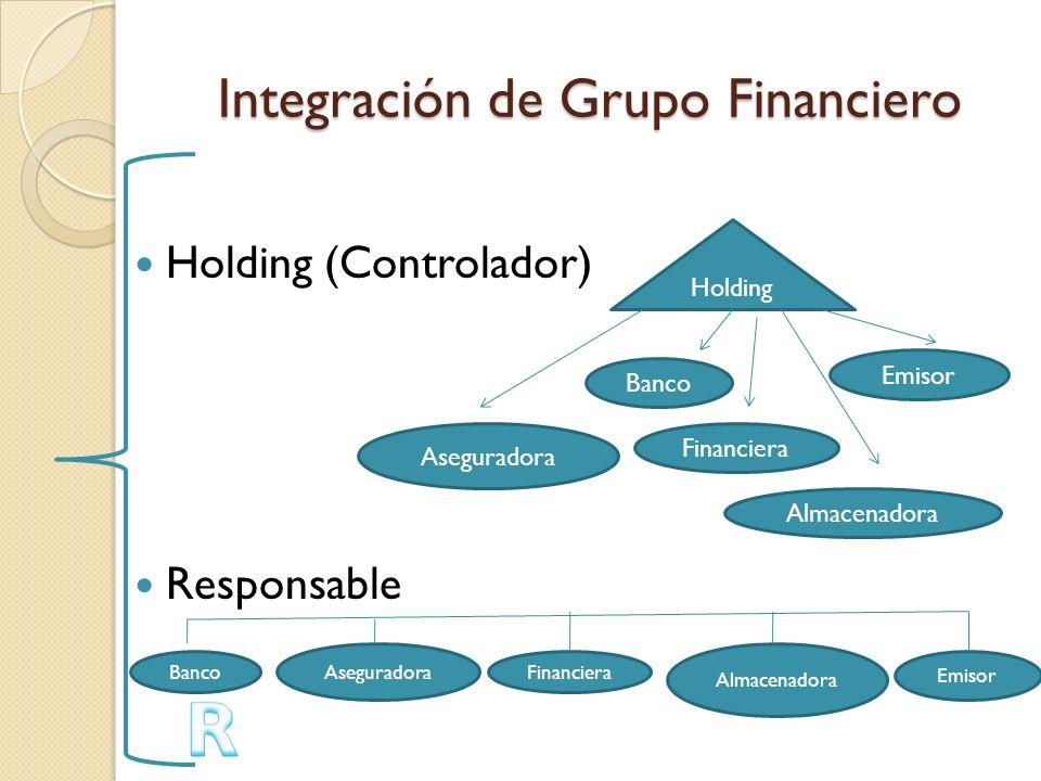 Integración de Grupo Financiero Holding (Controlador) Responsable Holding Banco Financiera Almacenadora Emisor Aseguradora Banco Aseguradora Financier