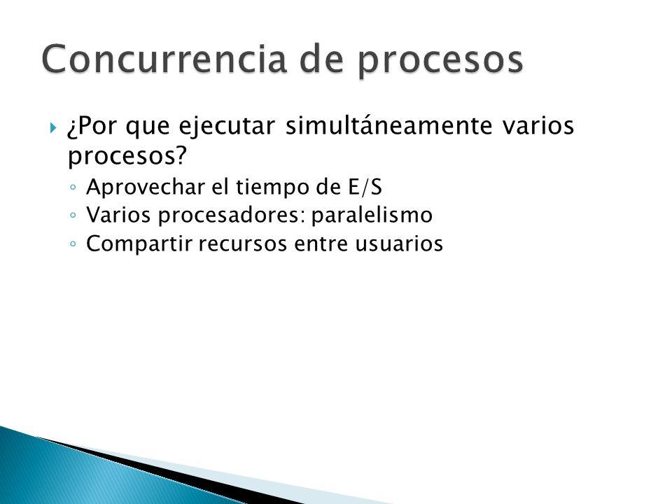 ¿Por que ejecutar simultáneamente varios procesos? Aprovechar el tiempo de E/S Varios procesadores: paralelismo Compartir recursos entre usuarios