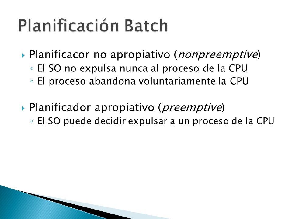 Planificacor no apropiativo (nonpreemptive) El SO no expulsa nunca al proceso de la CPU El proceso abandona voluntariamente la CPU Planificador apropi