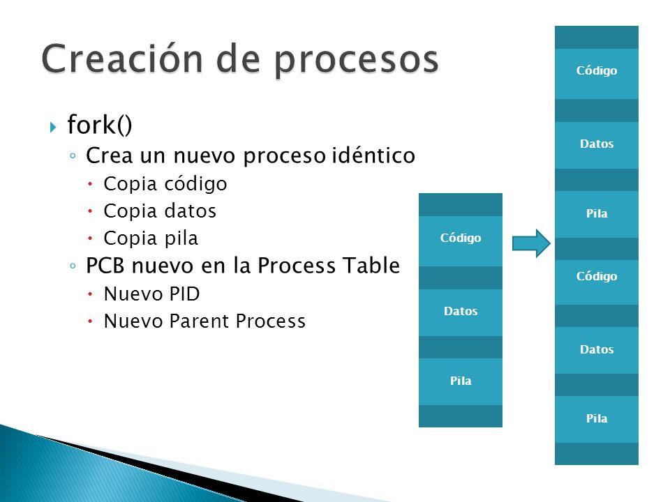 fork() Crea un nuevo proceso idéntico Copia código Copia datos Copia pila PCB nuevo en la Process Table Nuevo PID Nuevo Parent Process Código Datos Pi