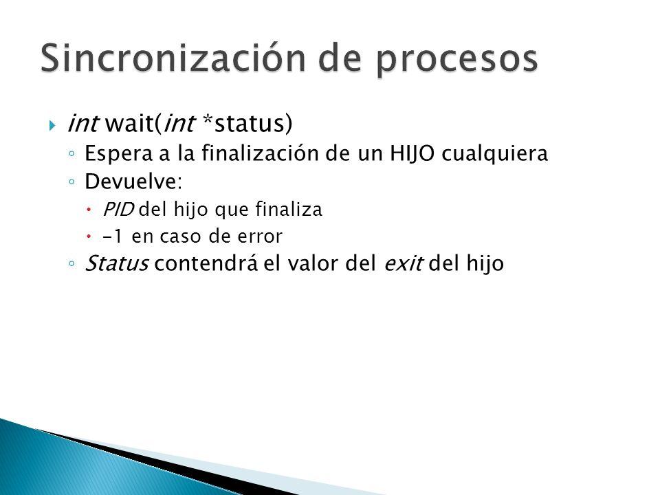 int wait(int *status) Espera a la finalización de un HIJO cualquiera Devuelve: PID del hijo que finaliza -1 en caso de error Status contendrá el valor