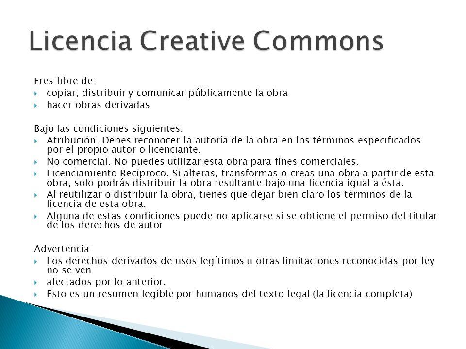 Eres libre de: copiar, distribuir y comunicar públicamente la obra hacer obras derivadas Bajo las condiciones siguientes: Atribución. Debes reconocer