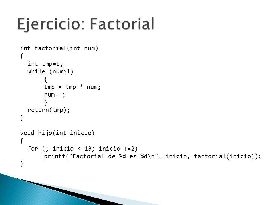 int factorial(int num) { int tmp=1; while (num>1) { tmp = tmp * num; num--; } return(tmp); } void hijo(int inicio) { for (; inicio < 13; inicio +=2) p
