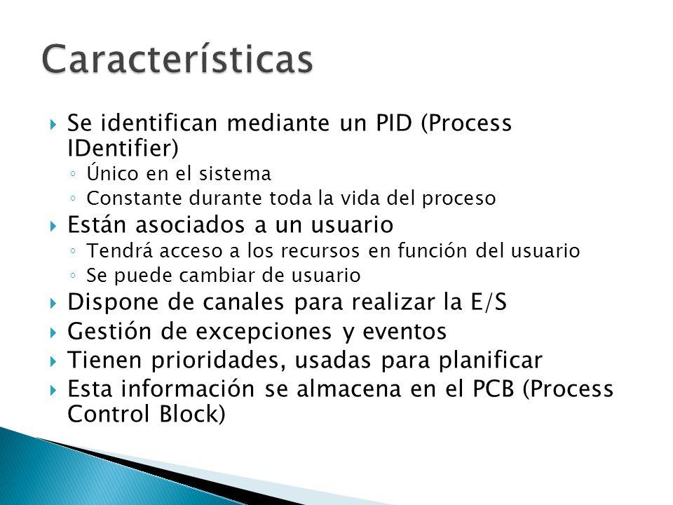 Se identifican mediante un PID (Process IDentifier) Único en el sistema Constante durante toda la vida del proceso Están asociados a un usuario Tendrá