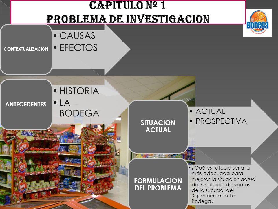 CAPITULO Nº 1 PROBLEMA DE INVESTIGACION CAUSAS EFECTOS CONTEXTUALIZACION HISTORIA LA BODEGA ANTECEDENTES ACTUAL PROSPECTIVA SITUACION ACTUAL ¿Qué estr