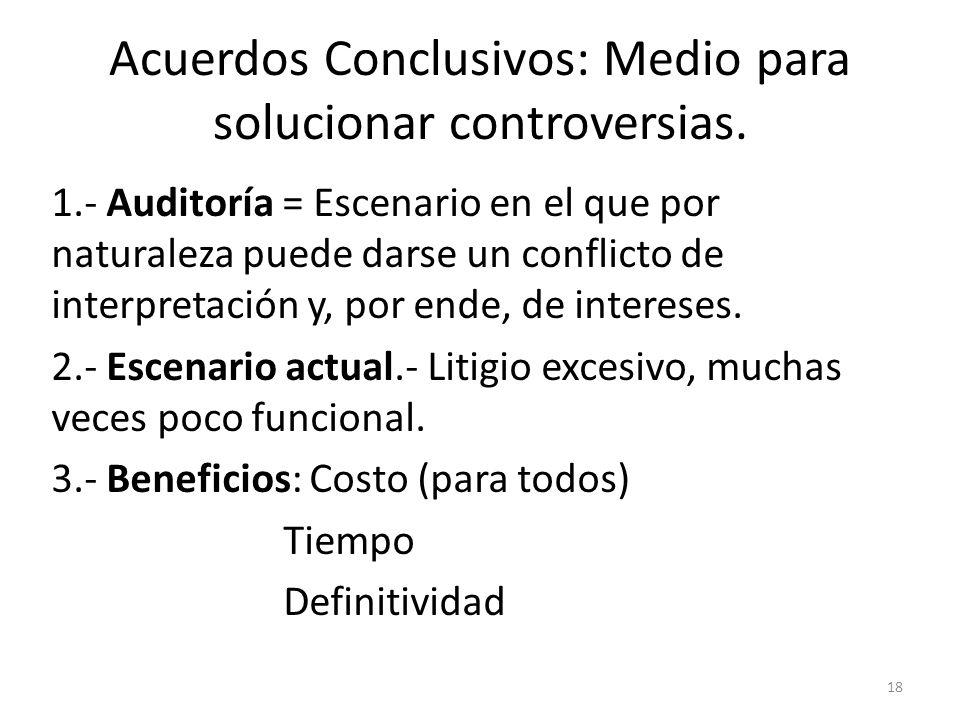 Acuerdos Conclusivos: Medio para solucionar controversias. 1.- Auditoría = Escenario en el que por naturaleza puede darse un conflicto de interpretaci