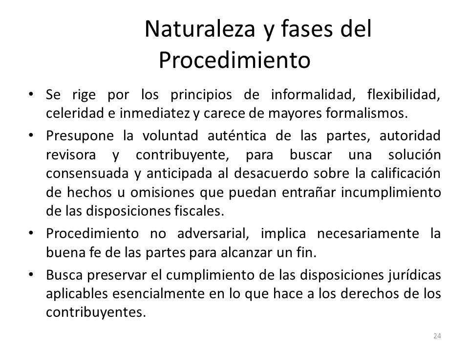 Naturaleza y fases del Procedimiento Se rige por los principios de informalidad, flexibilidad, celeridad e inmediatez y carece de mayores formalismos.