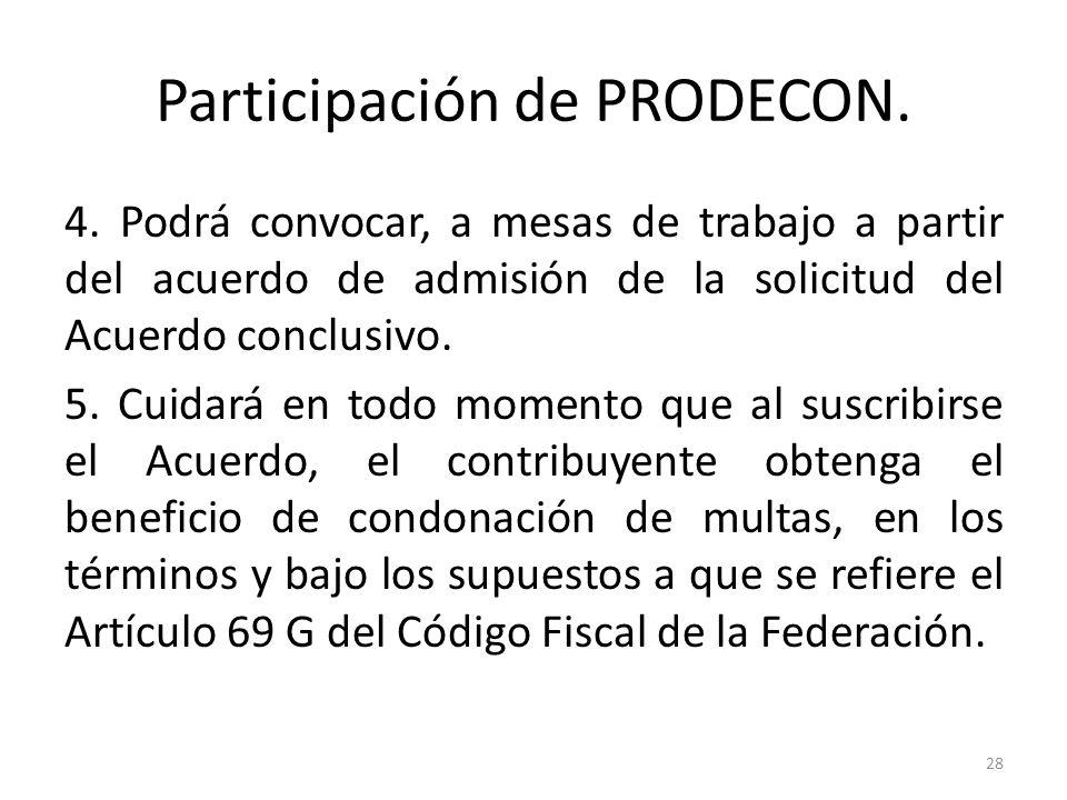 Participación de PRODECON. 4. Podrá convocar, a mesas de trabajo a partir del acuerdo de admisión de la solicitud del Acuerdo conclusivo. 5. Cuidará e